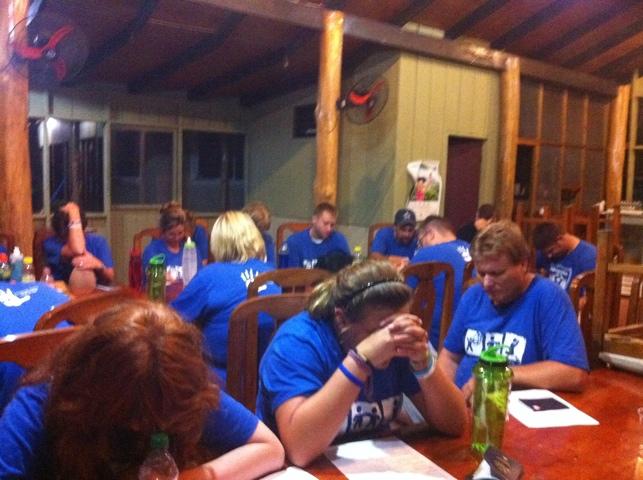 BridgeWay Group Praying at the Hotel